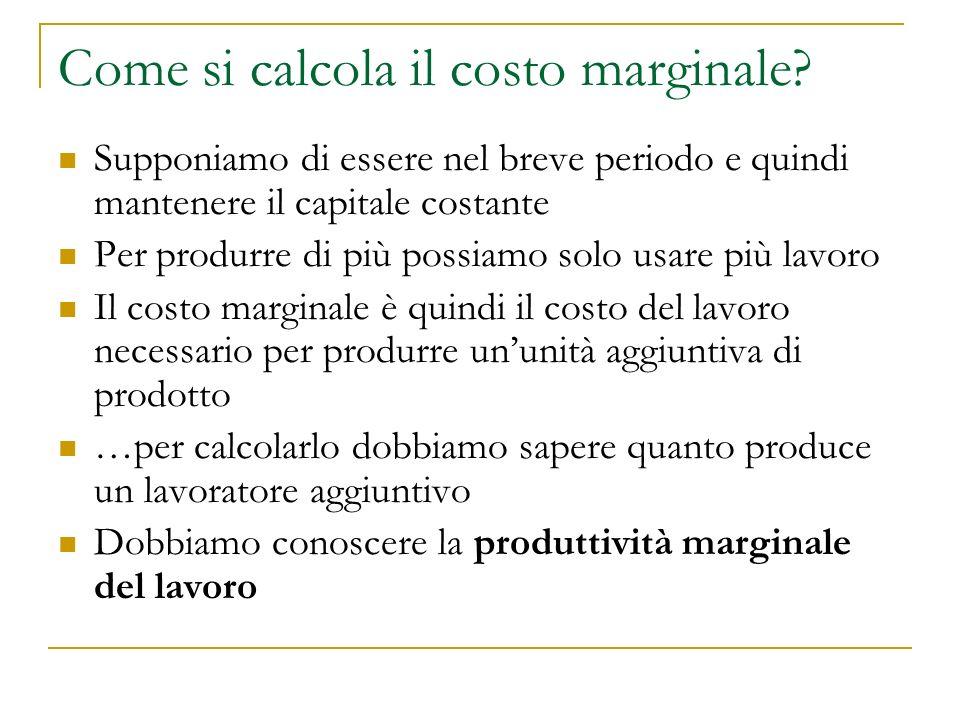Produttività marginale del lavoro: esempio La produttività marginale del lavoro (prima o poi) è decrescente.