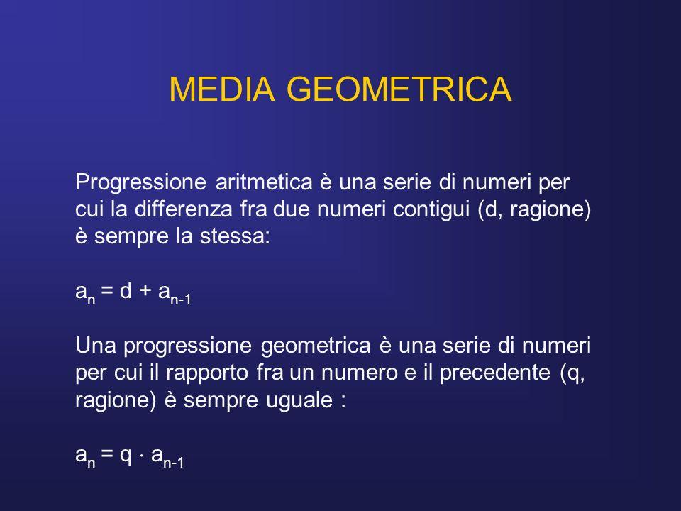 MEDIA GEOMETRICA Progressione aritmetica è una serie di numeri per cui la differenza fra due numeri contigui (d, ragione) è sempre la stessa: a n = d