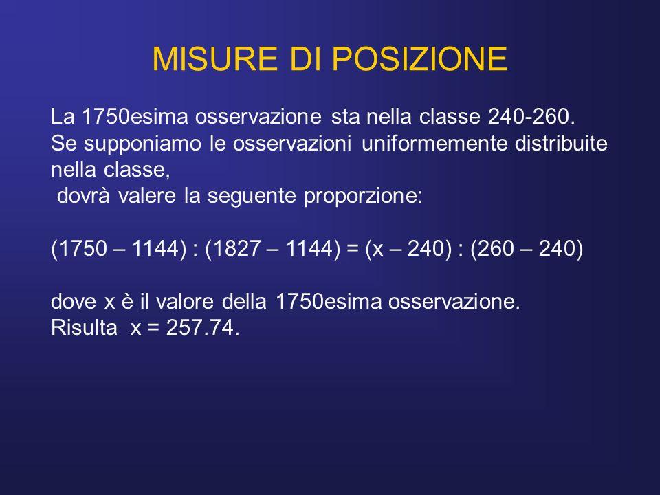 MISURE DI POSIZIONE La 1750esima osservazione sta nella classe 240-260. Se supponiamo le osservazioni uniformemente distribuite nella classe, dovrà va