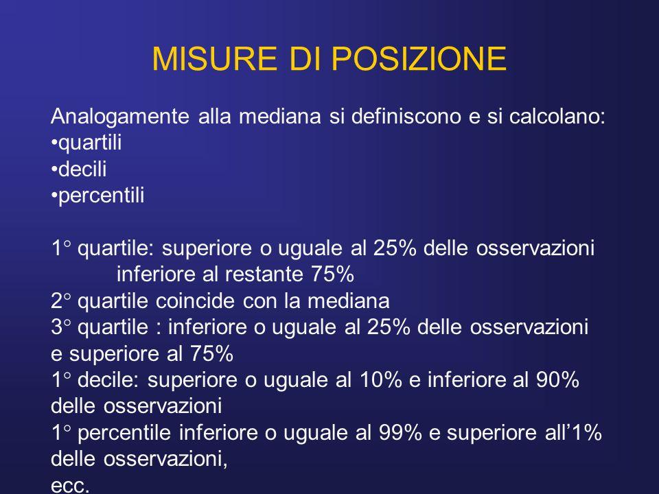MISURE DI POSIZIONE Analogamente alla mediana si definiscono e si calcolano: quartili decili percentili 1° quartile: superiore o uguale al 25% delle o