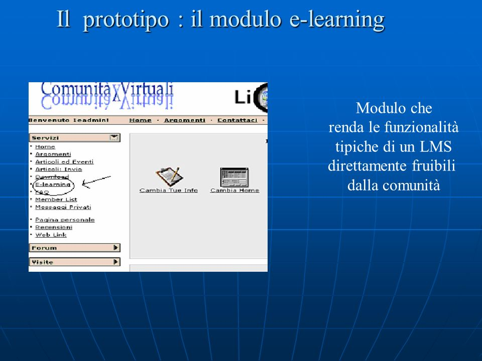 Il prototipo : il modulo e-learning Modulo che renda le funzionalità tipiche di un LMS direttamente fruibili dalla comunità