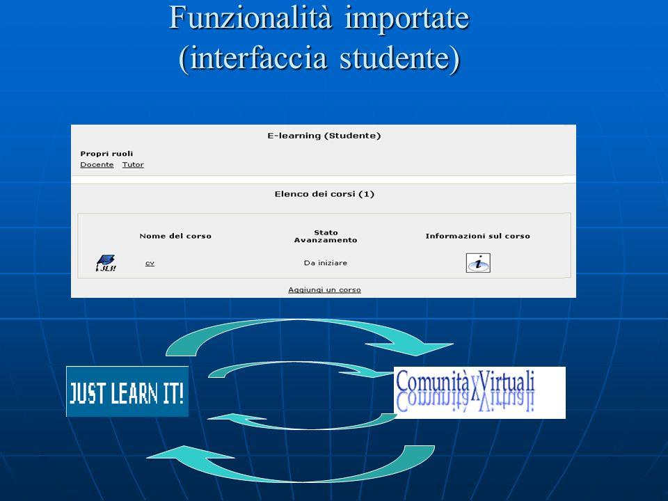 Funzionalità importate (interfaccia studente)