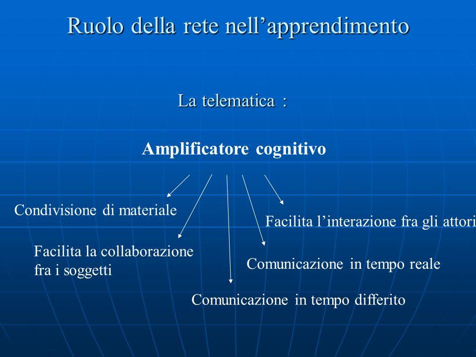 Ruolo della rete nellapprendimento Amplificatore cognitivo Facilita linterazione fra gli attori Condivisione di materiale Facilita la collaborazione fra i soggetti Comunicazione in tempo reale Comunicazione in tempo differito La telematica :