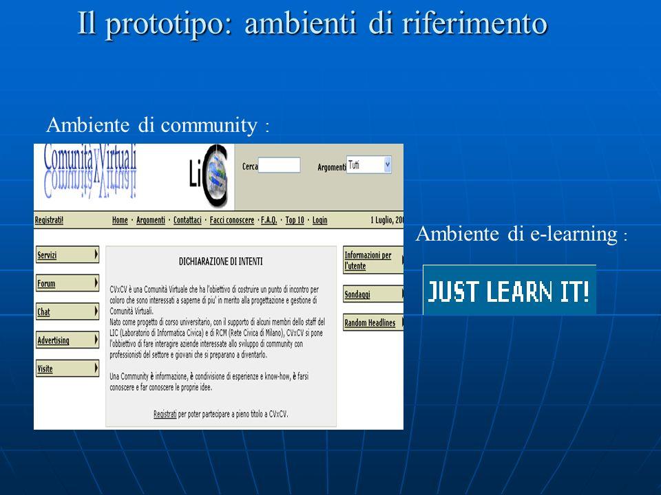 Il prototipo: ambienti di riferimento Ambiente di community : Ambiente di e-learning :