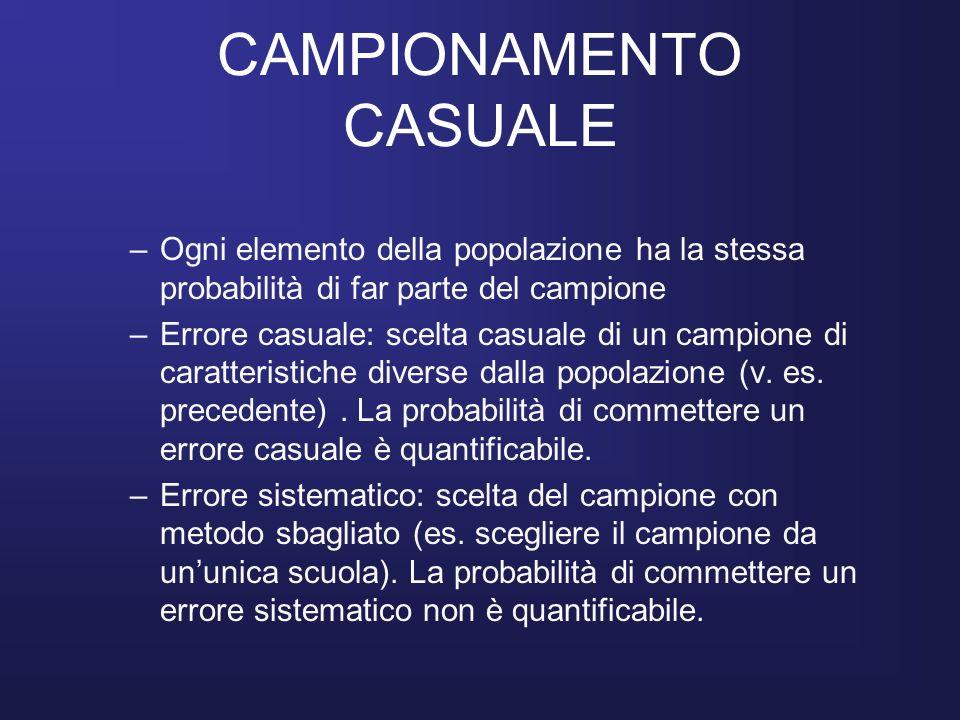 CAMPIONAMENTO CASUALE –Ogni elemento della popolazione ha la stessa probabilità di far parte del campione –Errore casuale: scelta casuale di un campio