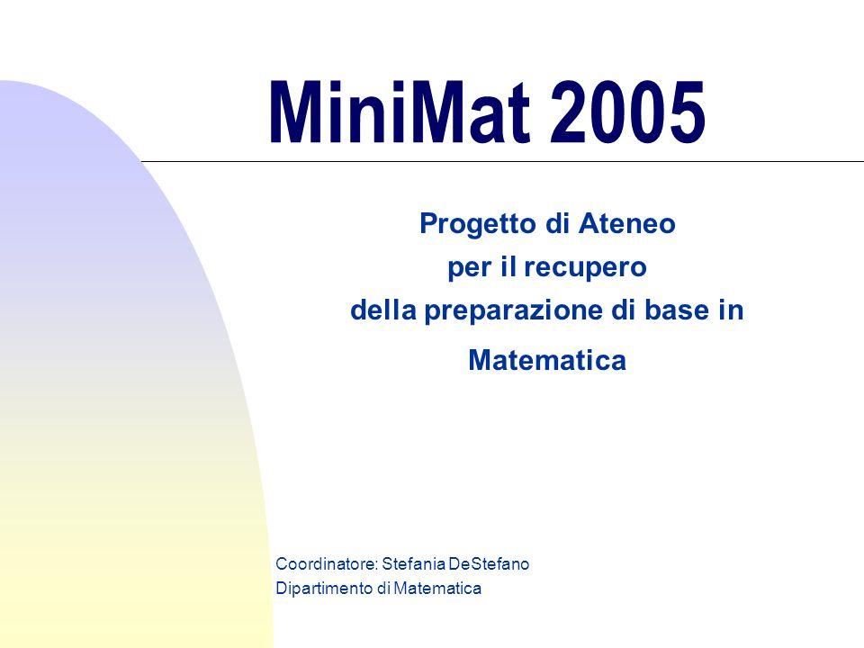 MiniMat 2005 Progetto di Ateneo per il recupero della preparazione di base in Matematica Coordinatore: Stefania DeStefano Dipartimento di Matematica