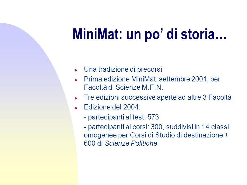 MiniMat: un po di storia… l Una tradizione di precorsi l Prima edizione MiniMat: settembre 2001, per Facoltà di Scienze M.F.N. l Tre edizioni successi
