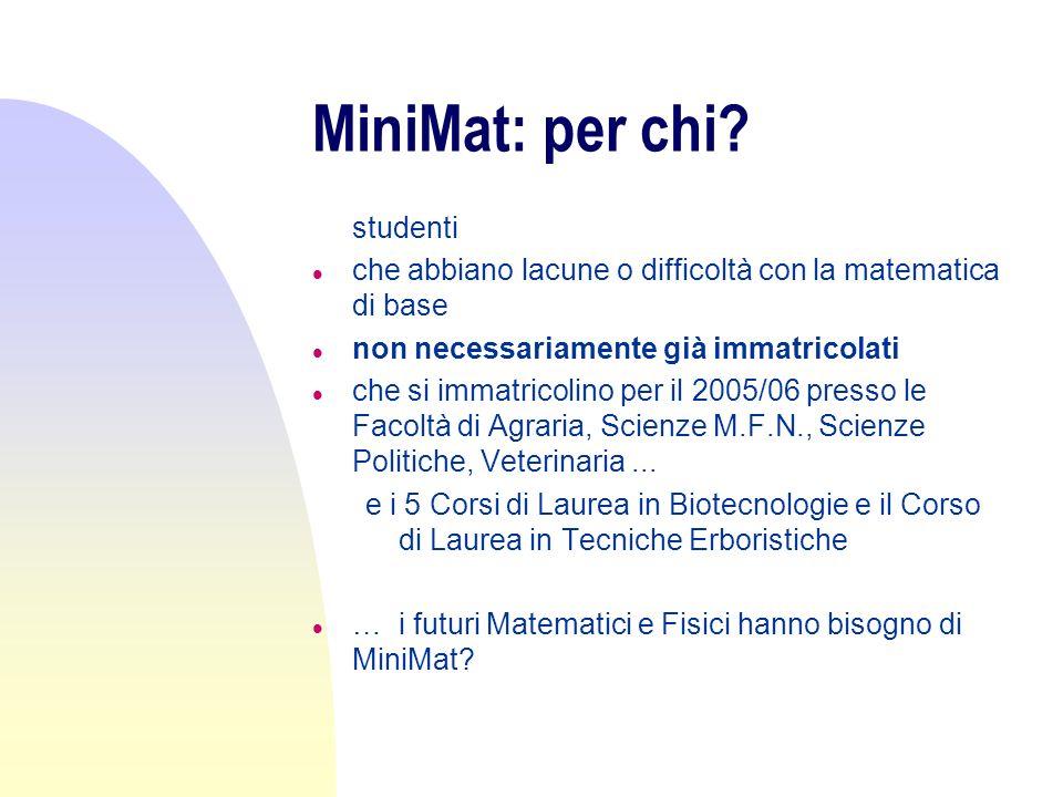 MiniMat: per chi? l studenti l che abbiano lacune o difficoltà con la matematica di base l non necessariamente già immatricolati l che si immatricolin