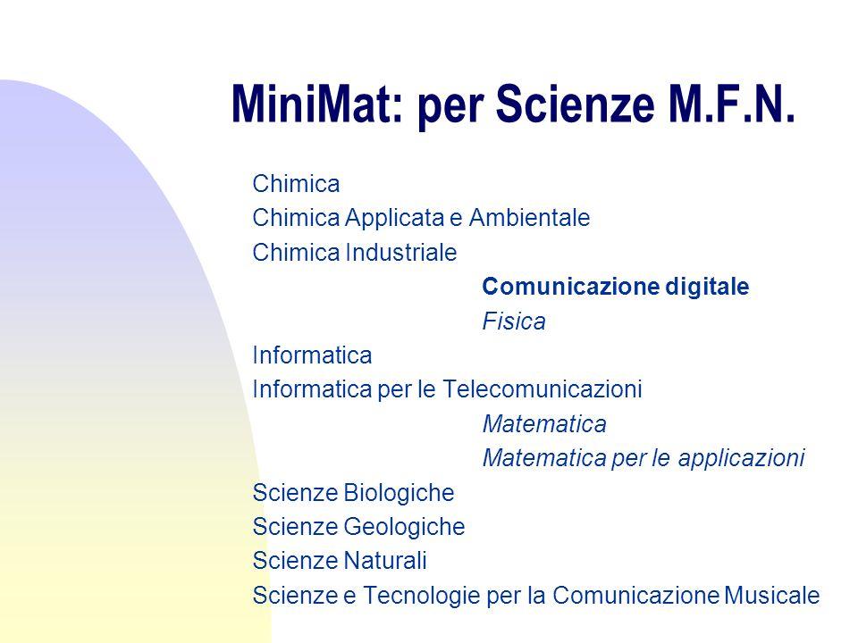 MiniMat: per Scienze M.F.N. Chimica Chimica Applicata e Ambientale Chimica Industriale Comunicazione digitale Fisica Informatica Informatica per le Te