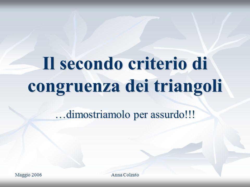 Maggio 2006 Anna Colzato Il secondo criterio di congruenza dei triangoli …dimostriamolo per assurdo!!!