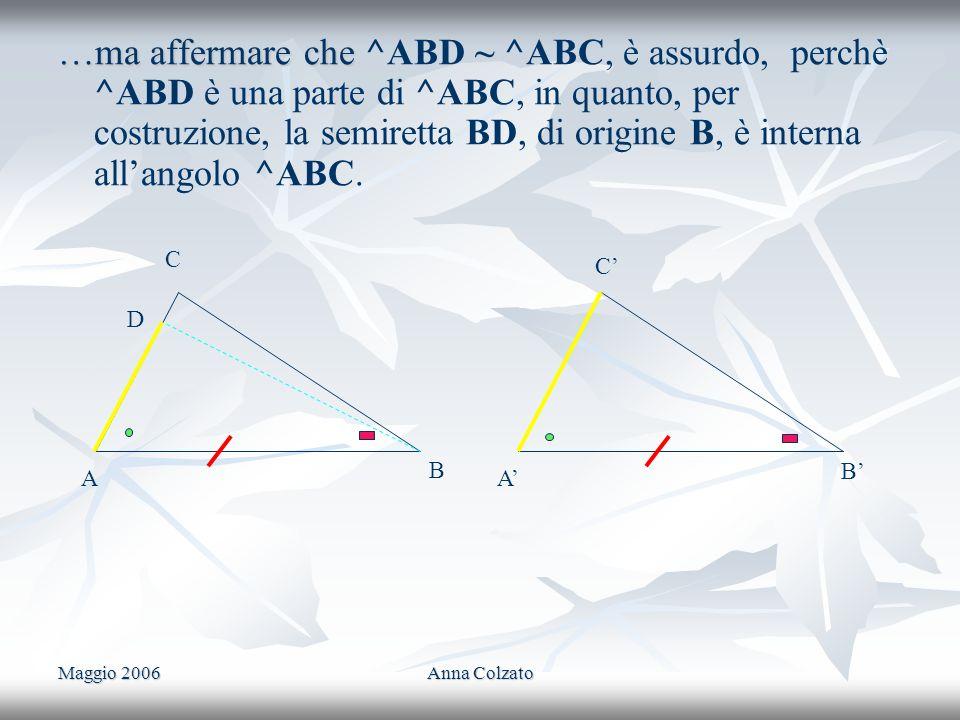 Maggio 2006Anna Colzato …ma affermare che …ma affermare che ^ABD ~ ^ABC, è assurdo, perchè ^ABD è una parte di ^ABC, in quanto, per costruzione, la se