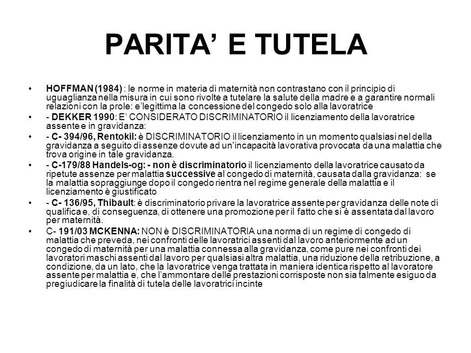 PARITA E TUTELA HOFFMAN (1984) : le norme in materia di maternità non contrastano con il principio di uguaglianza nella misura in cui sono rivolte a t