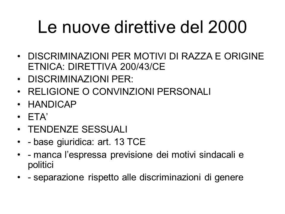 Le nuove direttive del 2000 DISCRIMINAZIONI PER MOTIVI DI RAZZA E ORIGINE ETNICA: DIRETTIVA 200/43/CE DISCRIMINAZIONI PER: RELIGIONE O CONVINZIONI PER
