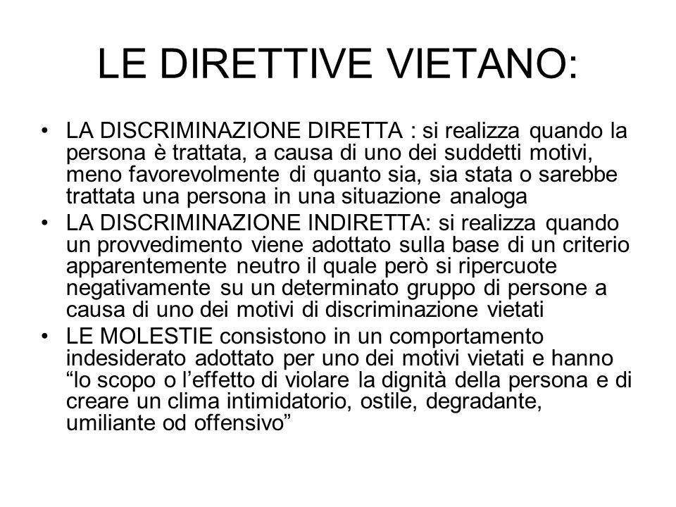 LE DIRETTIVE VIETANO: LA DISCRIMINAZIONE DIRETTA : si realizza quando la persona è trattata, a causa di uno dei suddetti motivi, meno favorevolmente d
