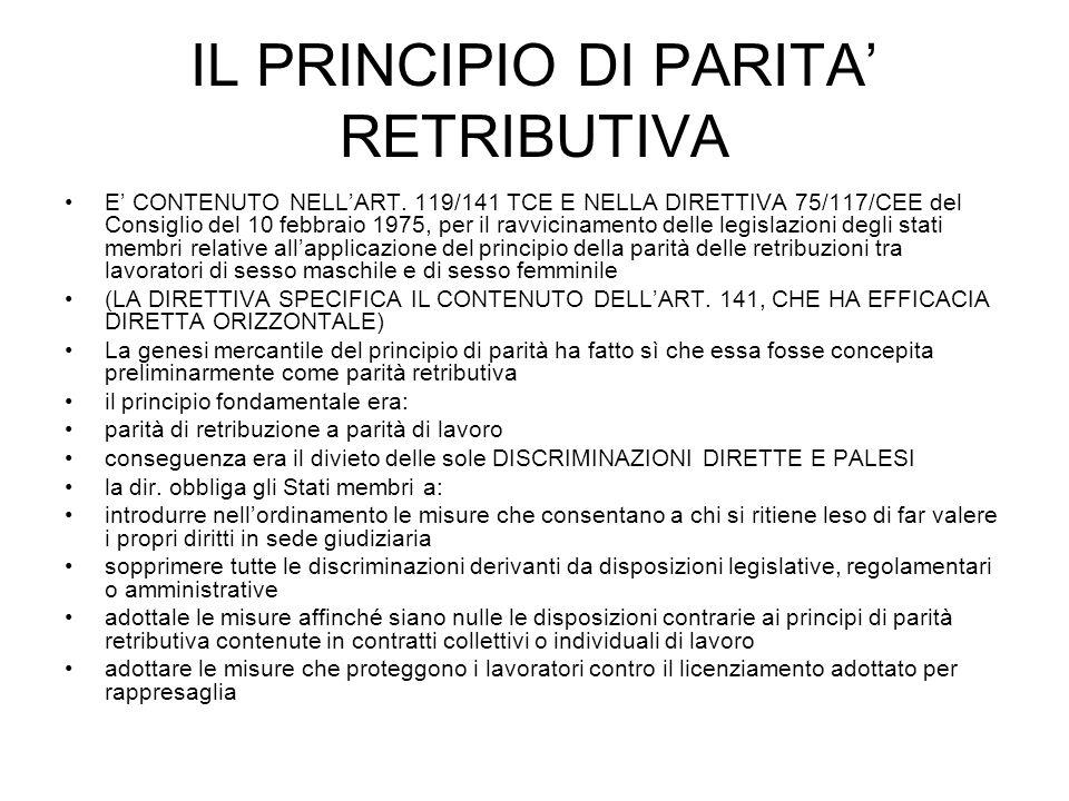 IL PRINCIPIO DI PARITA RETRIBUTIVA E CONTENUTO NELLART. 119/141 TCE E NELLA DIRETTIVA 75/117/CEE del Consiglio del 10 febbraio 1975, per il ravvicinam