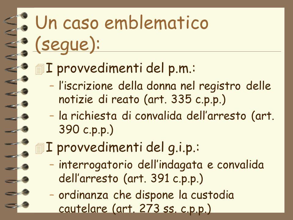 Un caso emblematico (segue): 4 I provvedimenti del p.m.: –liscrizione della donna nel registro delle notizie di reato (art.