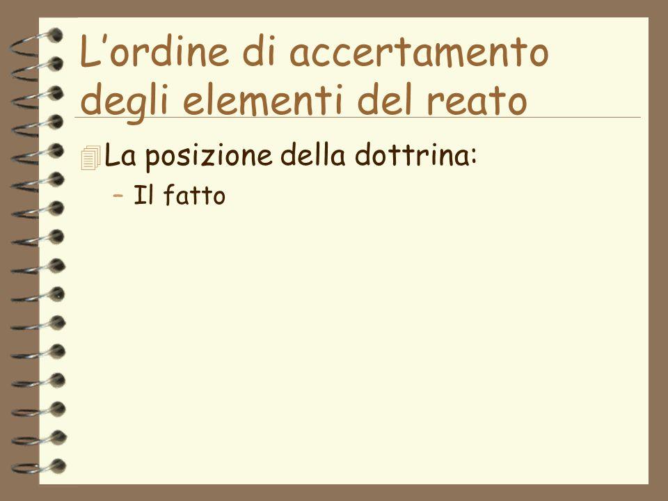 Lordine di accertamento degli elementi del reato 4 La posizione della dottrina: –Il fatto