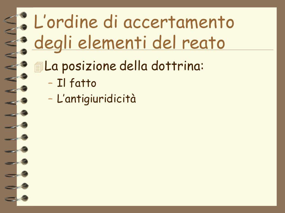 Lordine di accertamento degli elementi del reato 4 La posizione della dottrina: –Il fatto –Lantigiuridicità