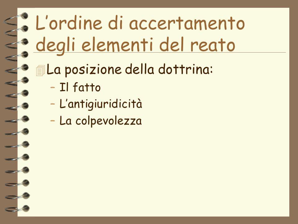 Lordine di accertamento degli elementi del reato 4 La posizione della dottrina: –Il fatto –Lantigiuridicità –La colpevolezza
