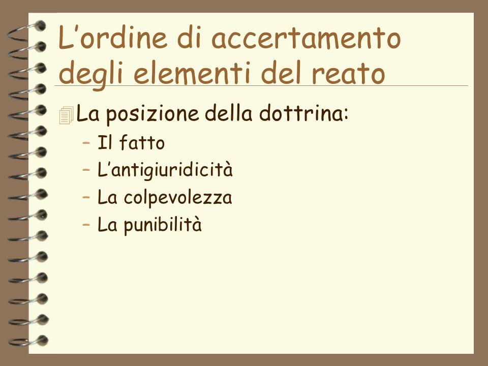 Lordine di accertamento degli elementi del reato 4 La posizione della dottrina: –Il fatto –Lantigiuridicità –La colpevolezza –La punibilità