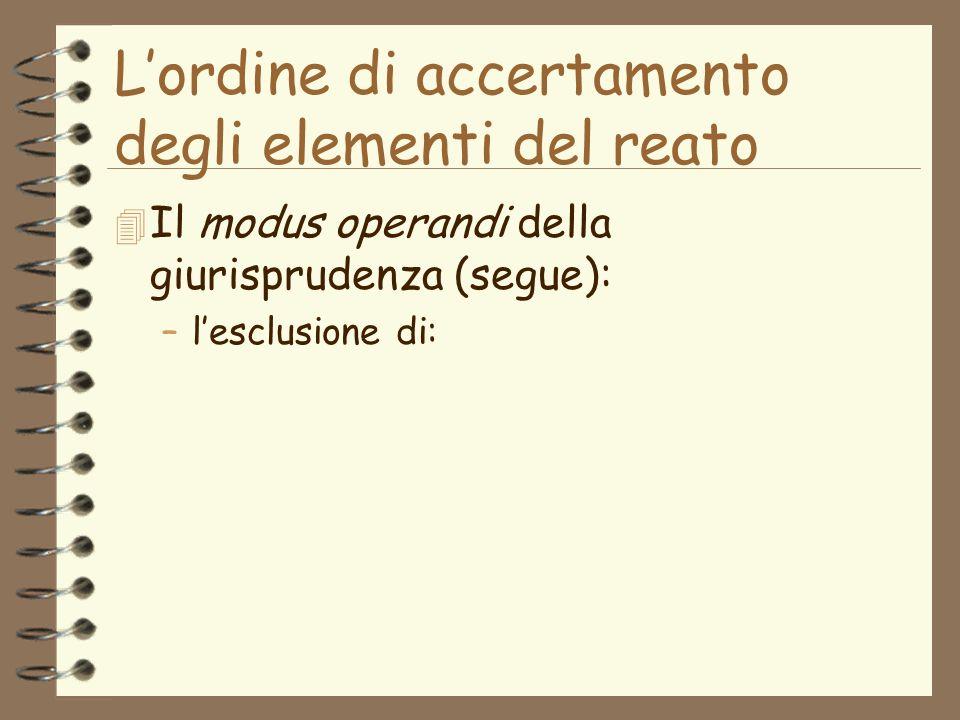 Lordine di accertamento degli elementi del reato 4 Il modus operandi della giurisprudenza (segue): –lesclusione di: