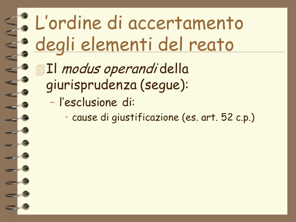 Lordine di accertamento degli elementi del reato 4 Il modus operandi della giurisprudenza (segue): –lesclusione di: cause di giustificazione (es.