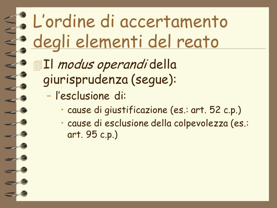 Lordine di accertamento degli elementi del reato 4 Il modus operandi della giurisprudenza (segue): –lesclusione di: cause di giustificazione (es.: art.
