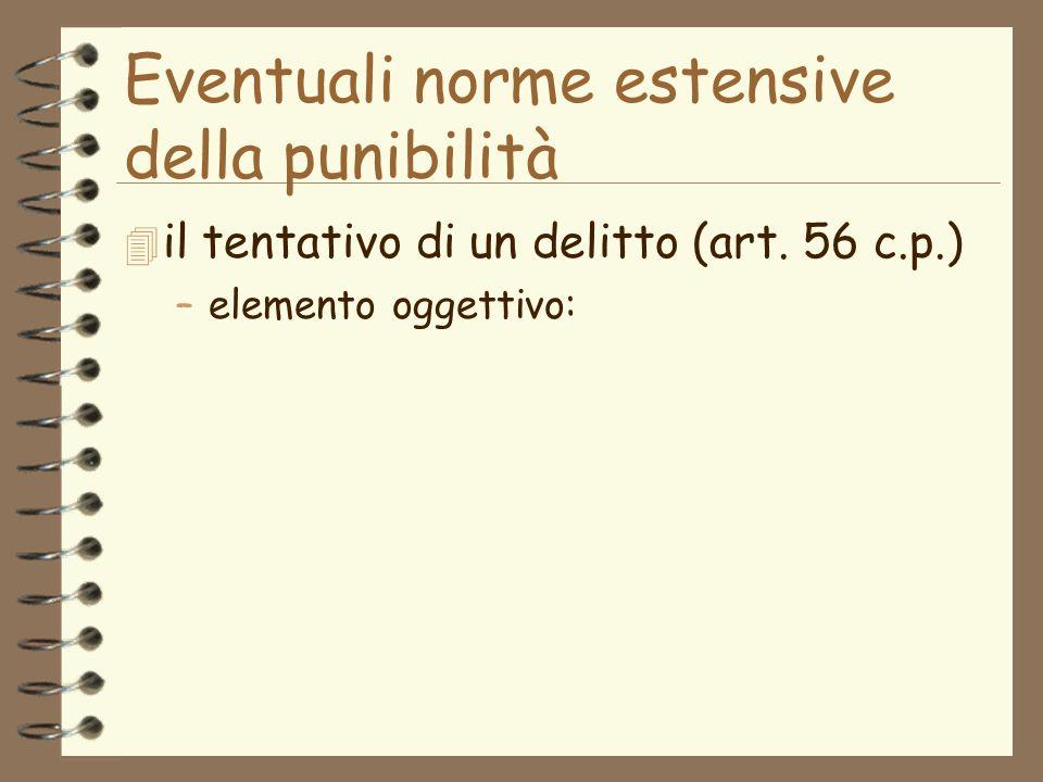Eventuali norme estensive della punibilità 4 il tentativo di un delitto (art.
