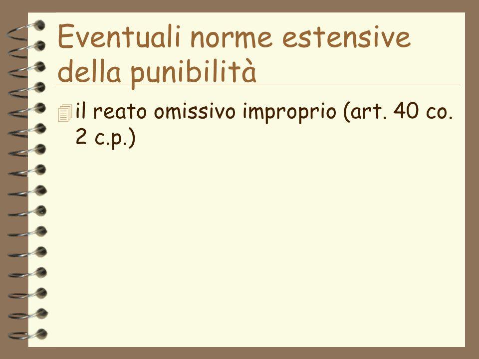 Eventuali norme estensive della punibilità 4 il reato omissivo improprio (art. 40 co. 2 c.p.)