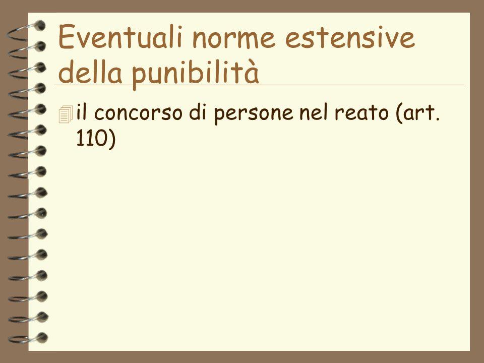 Eventuali norme estensive della punibilità 4 il concorso di persone nel reato (art. 110)