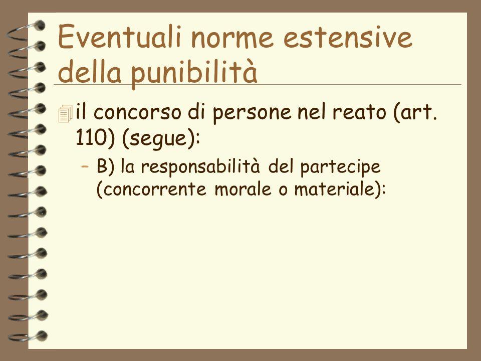 Eventuali norme estensive della punibilità 4 il concorso di persone nel reato (art.