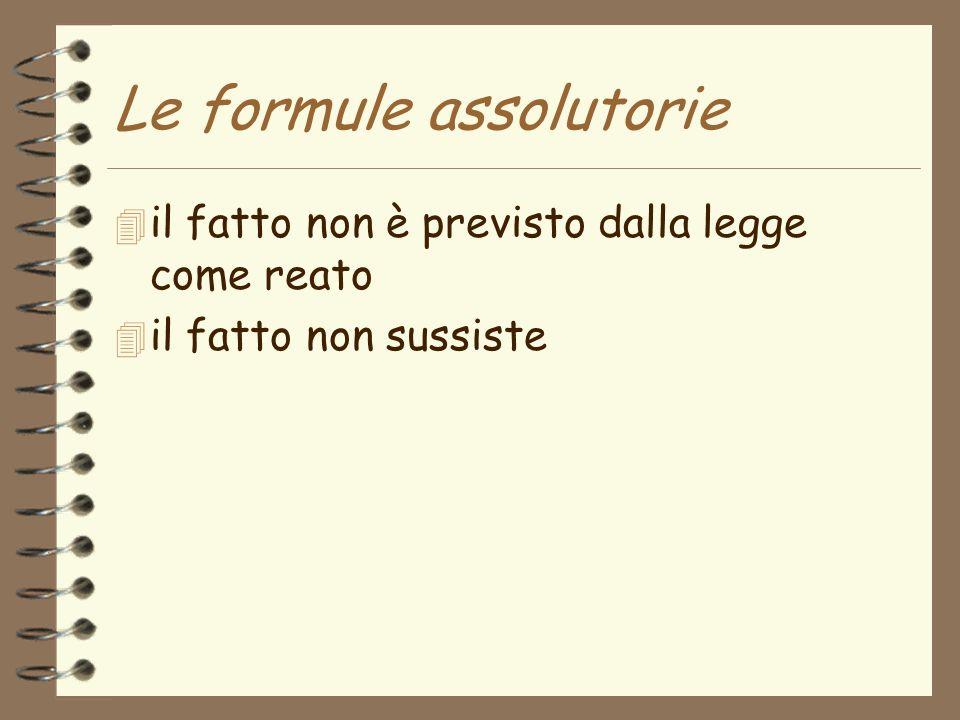 Le formule assolutorie 4 il fatto non è previsto dalla legge come reato 4 il fatto non sussiste