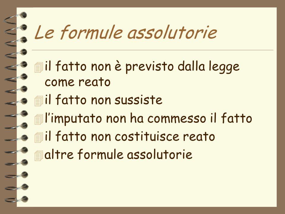 Le formule assolutorie 4 il fatto non è previsto dalla legge come reato 4 il fatto non sussiste 4 limputato non ha commesso il fatto 4 il fatto non costituisce reato 4 altre formule assolutorie