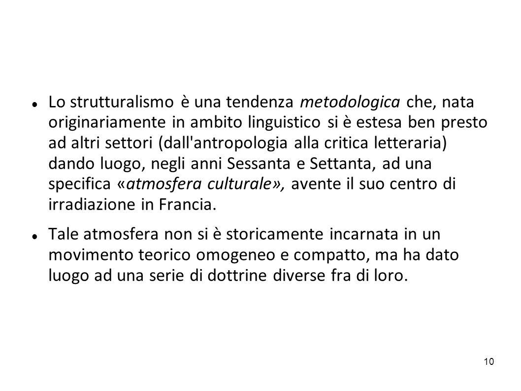 10 Lo strutturalismo è una tendenza metodologica che, nata originariamente in ambito linguistico si è estesa ben presto ad altri settori (dall'antropo