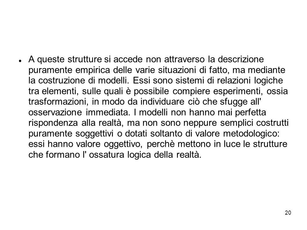 20 A queste strutture si accede non attraverso la descrizione puramente empirica delle varie situazioni di fatto, ma mediante la costruzione di modell