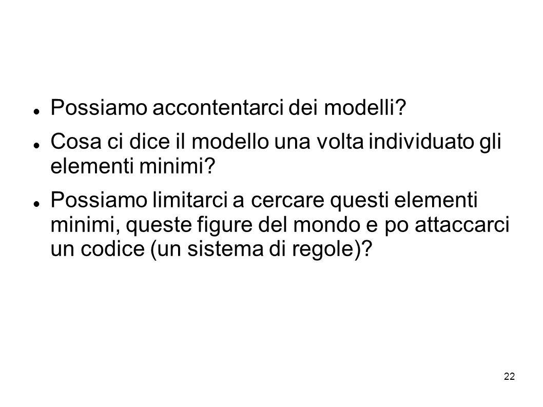 22 Possiamo accontentarci dei modelli? Cosa ci dice il modello una volta individuato gli elementi minimi? Possiamo limitarci a cercare questi elementi