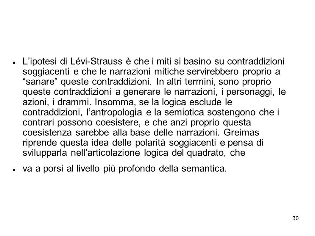 30 Lipotesi di Lévi-Strauss è che i miti si basino su contraddizioni soggiacenti e che le narrazioni mitiche servirebbero proprio a sanare queste cont