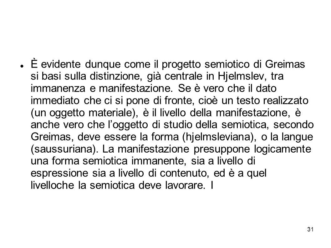 31 È evidente dunque come il progetto semiotico di Greimas si basi sulla distinzione, già centrale in Hjelmslev, tra immanenza e manifestazione. Se è