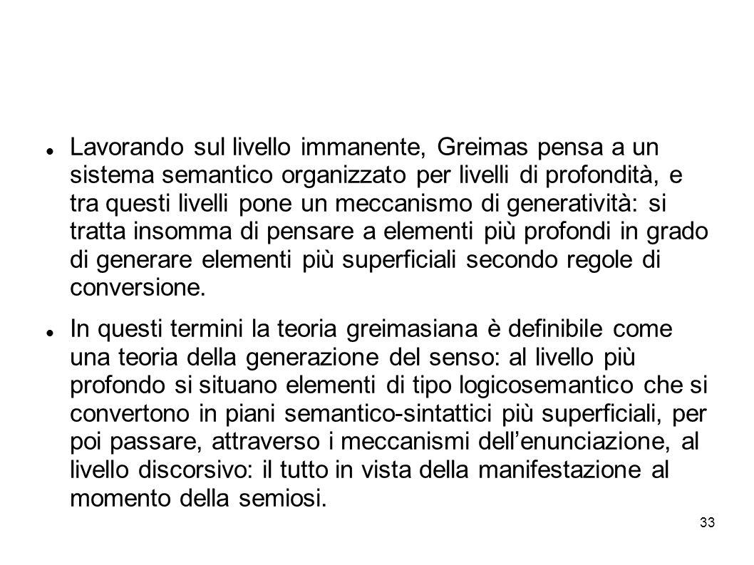 33 Lavorando sul livello immanente, Greimas pensa a un sistema semantico organizzato per livelli di profondità, e tra questi livelli pone un meccanism