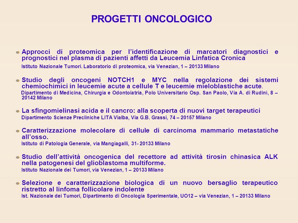 PROGETTI ONCOLOGICO Approcci di proteomica per lidentificazione di marcatori diagnostici e prognostici nel plasma di pazienti affetti da Leucemia Linfatica Cronica Istituto Nazionale Tumori.