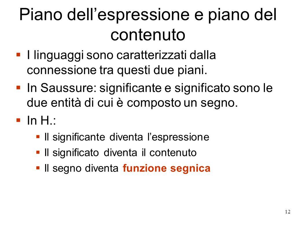 12 Piano dellespressione e piano del contenuto I linguaggi sono caratterizzati dalla connessione tra questi due piani. In Saussure: significante e sig