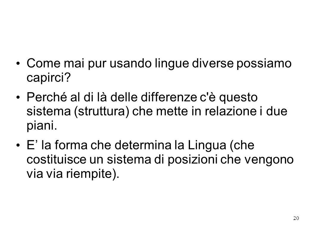 20 Come mai pur usando lingue diverse possiamo capirci? Perché al di là delle differenze c'è questo sistema (struttura) che mette in relazione i due p