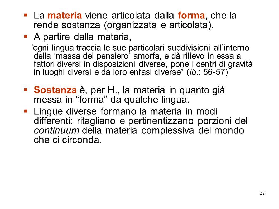 22 La materia viene articolata dalla forma, che la rende sostanza (organizzata e articolata). A partire dalla materia, ogni lingua traccia le sue part