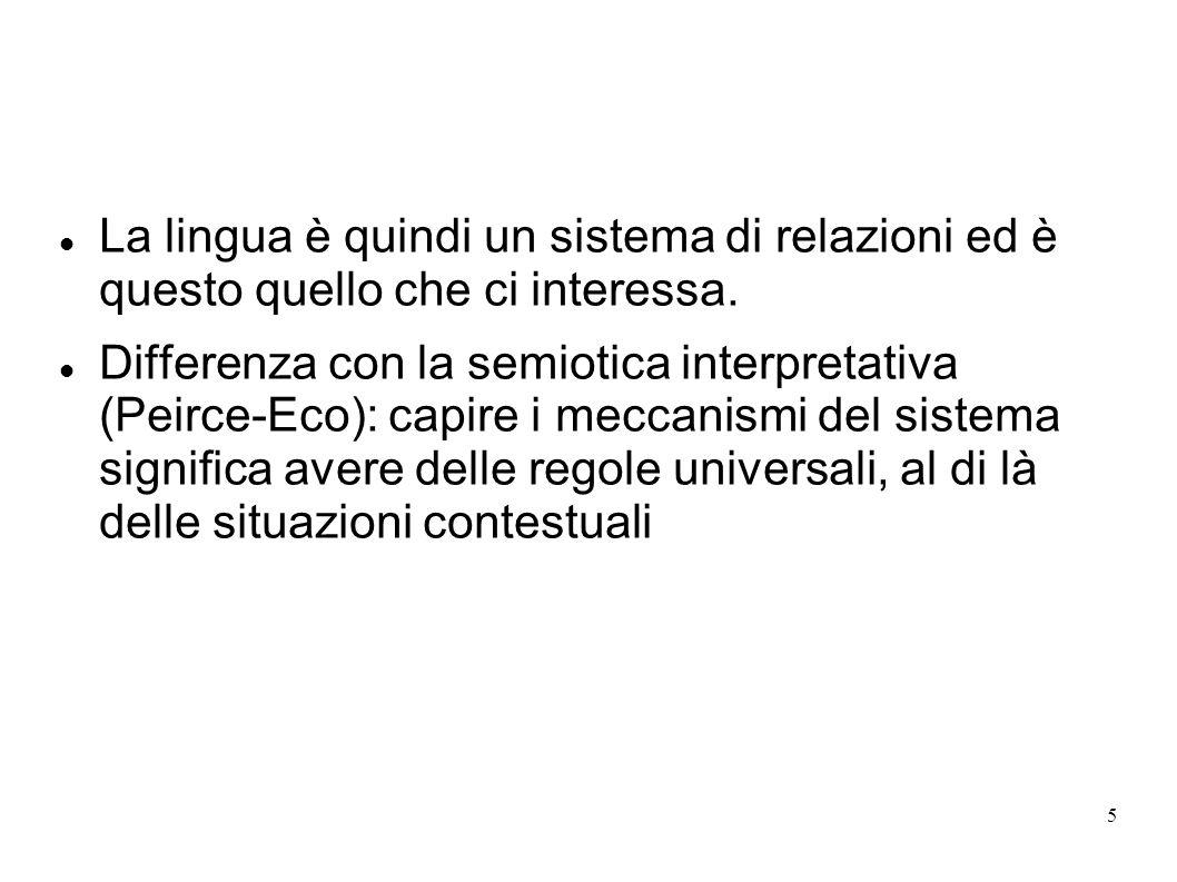5 La lingua è quindi un sistema di relazioni ed è questo quello che ci interessa. Differenza con la semiotica interpretativa (Peirce-Eco): capire i me