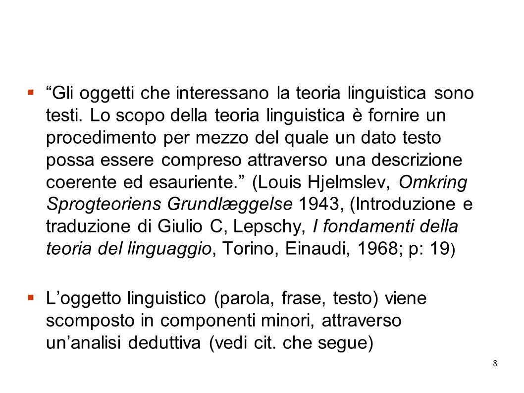 39 Quando si tratta di linguaggio nel senso ordinario del termine, che solo ci interessa qui, possiamo usare anche designazioni più semplici: possiamo chiamare il processo testo, e il sistema lingua.