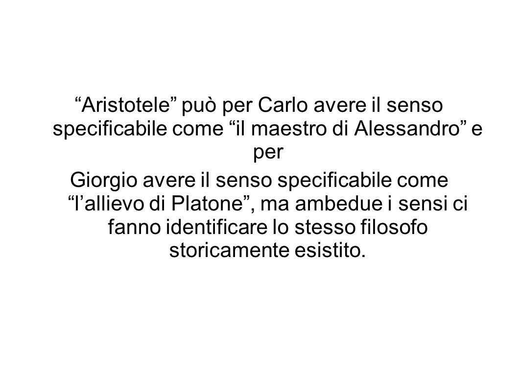 Aristotele può per Carlo avere il senso specificabile come il maestro di Alessandro e per Giorgio avere il senso specificabile come lallievo di Platon
