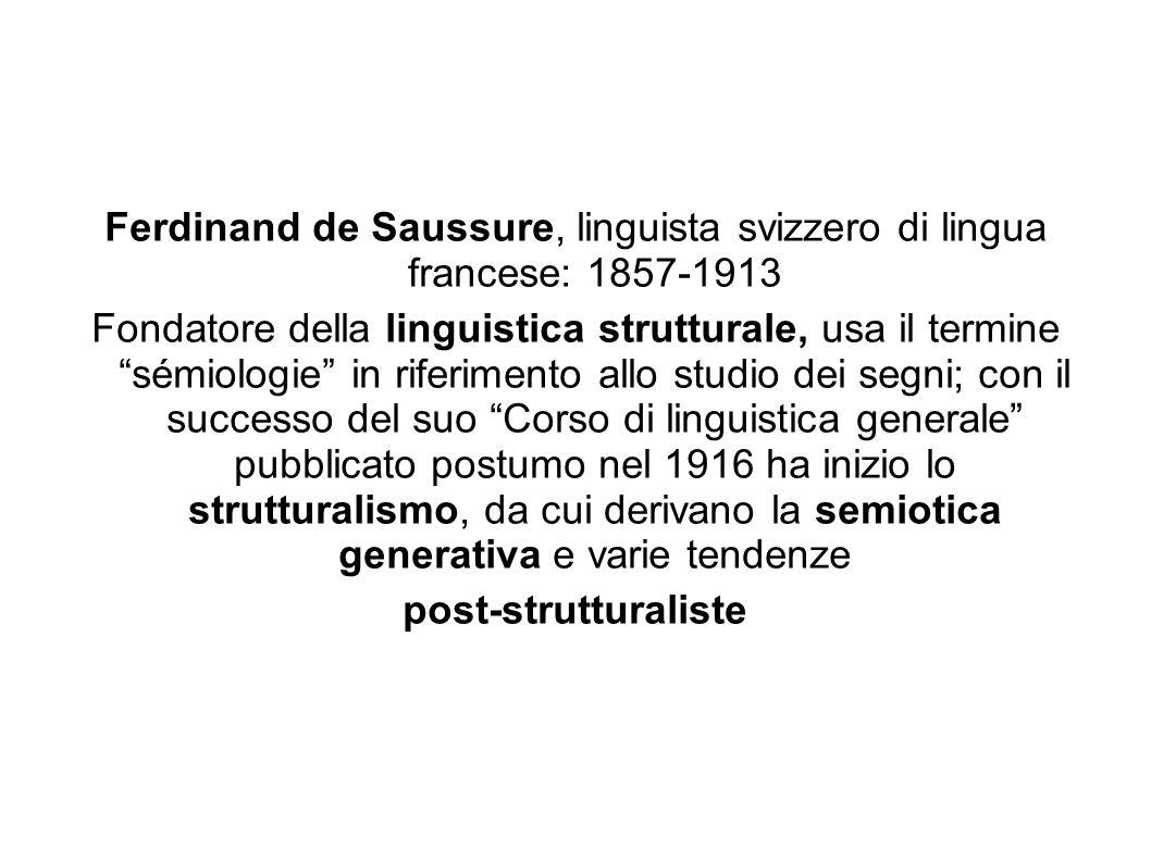 Ferdinand de Saussure, linguista svizzero di lingua francese: 1857-1913 Fondatore della linguistica strutturale, usa il termine sémiologie in riferime