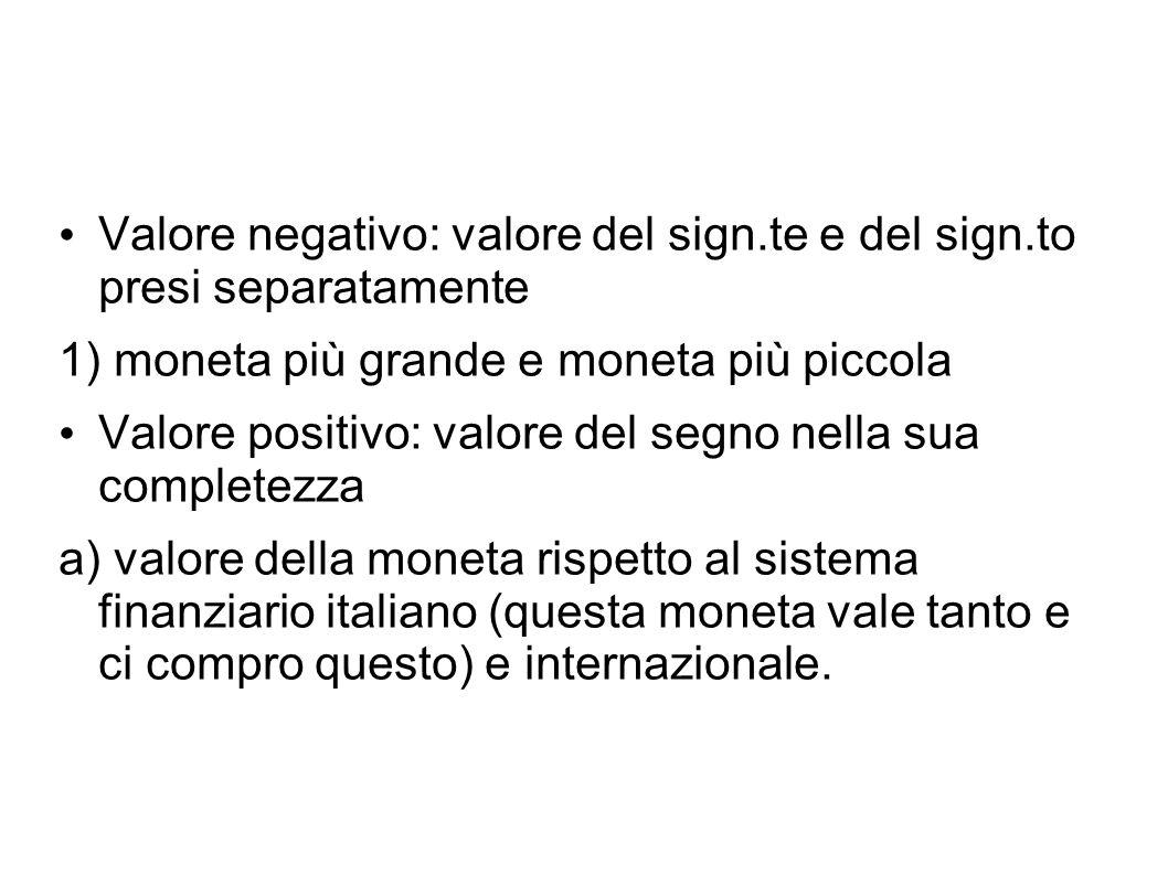 Valore negativo: valore del sign.te e del sign.to presi separatamente 1) moneta più grande e moneta più piccola Valore positivo: valore del segno nell