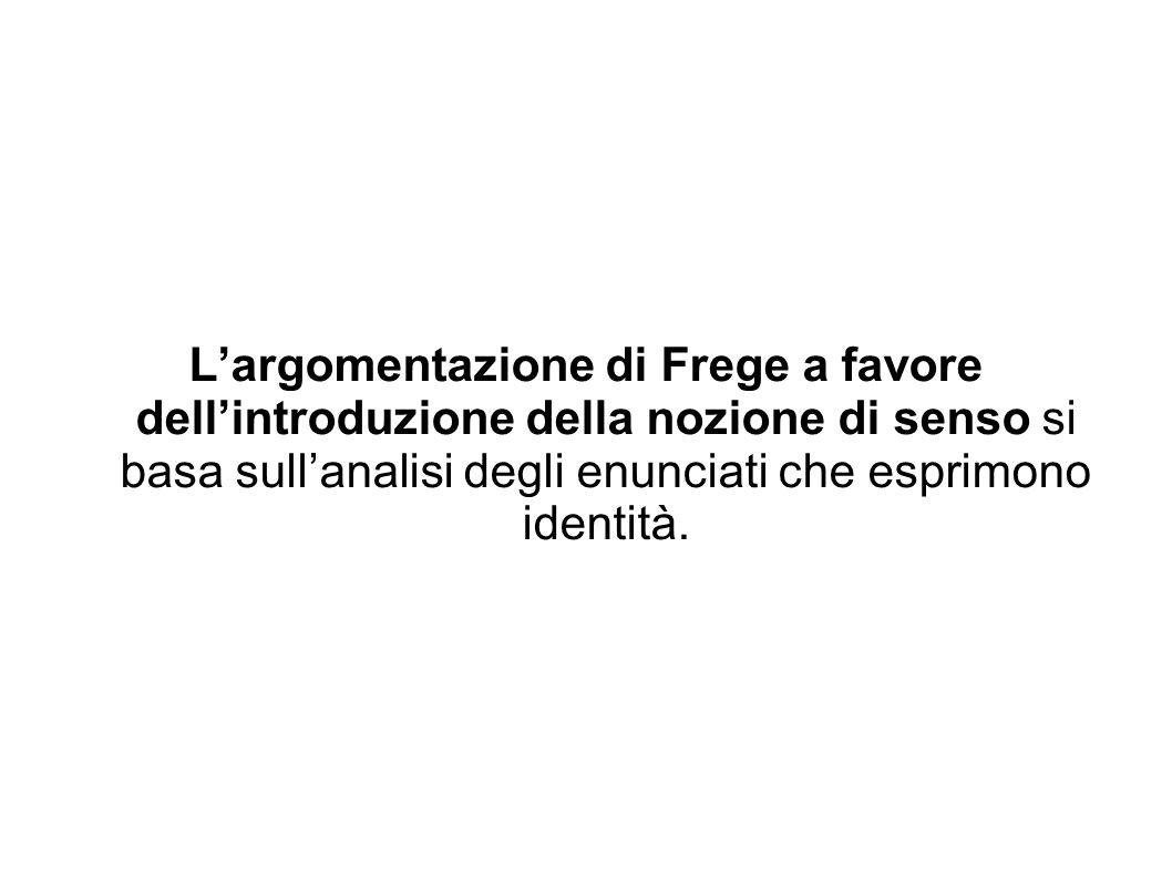 Largomentazione di Frege a favore dellintroduzione della nozione di senso si basa sullanalisi degli enunciati che esprimono identità.