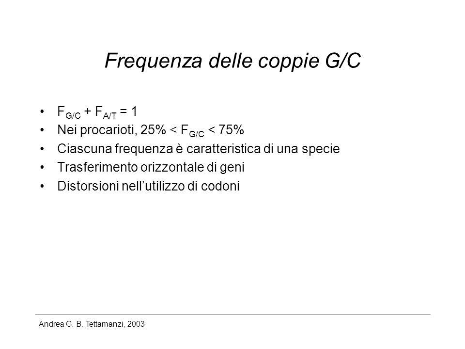 Andrea G. B. Tettamanzi, 2003 Frequenza delle coppie G/C F G/C + F A/T = 1 Nei procarioti, 25% < F G/C < 75% Ciascuna frequenza è caratteristica di un